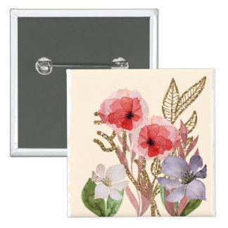 Pretty Pink Watercolor Flowers with Glitter Effect Pinback Button