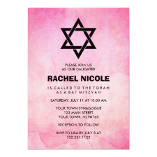 Pretty Pink Watercolor Look with Black Bat Mitzvah Invitation