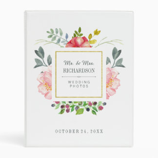 Pretty Pink Watercolor Peony Flower and Gold Frame Mini Binder