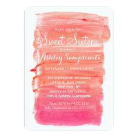 Pretty Pink Watercolor Sweet 16 Invitations