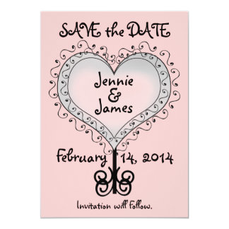 Pretty Pink Wedding Save the Date Card