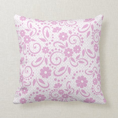 Pretty pink whimsical daisies throw pillow