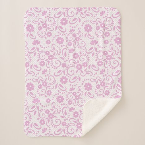 Pretty pink whimsy daisies sherpa blanket