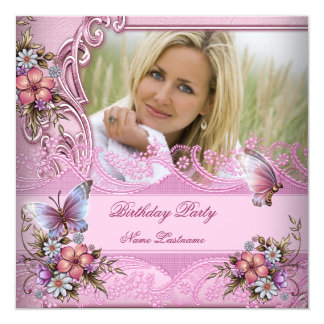 Pretty Pink White Butterfly Flowers Birthday Party 5.25x5.25 Square Paper Invitation Card