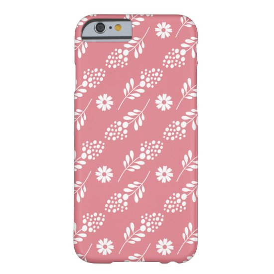 Pretty Pink White Floral Pattern Barely There iPhone 6 Case