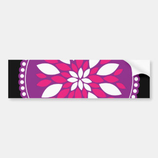 Pretty Pink White Flower Petals in Purple Circle Bumper Stickers