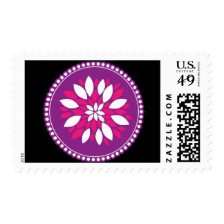 Pretty Pink White Flower Petals in Purple Circle Postage