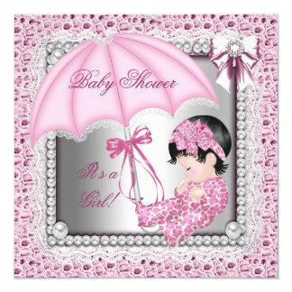 Pretty Pink White Girl Baby Shower 5.25x5.25 Square Paper Invitation Card