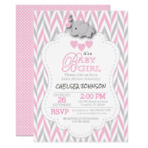 Pretty Pink, White Gray Elephant Baby Shower 2 Invitation