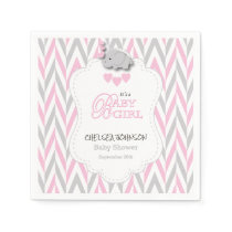 Pretty Pink, White & Gray Elephant Baby Shower 2 Napkin