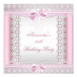 Pretty Pink White Pearls Lace Bow Birthday Party 5.25x5.25 Square Paper Invitation Card