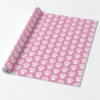 Pretty Pink White Pet Dog Paw Print Pattern Wrapping Paper
