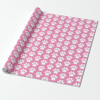 Pretty Pink White Pet Dog Paw Print Pattern Wrapping Paper
