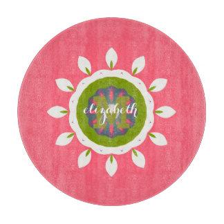 Pretty Pink White Petals Mandala Custom Name Cutting Board