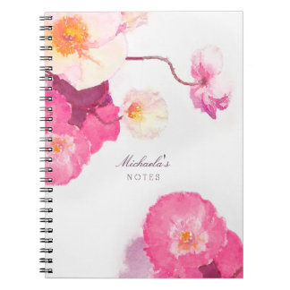 Pretty Pink White Poppies Watercolor Name Notebook