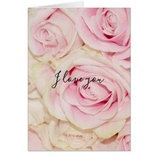 Pretty Pink White Roses Love Card