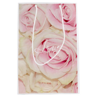 Pretty Pink White Roses Love Medium Gift Bag