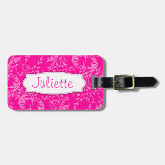 Pretty pink wildflower damask named luggage tag