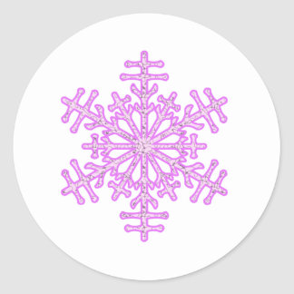 Pretty Pink Winter Christmas Snowflake Classic Round Sticker