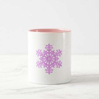 Pretty Pink Winter Christmas Snowflake Mugs