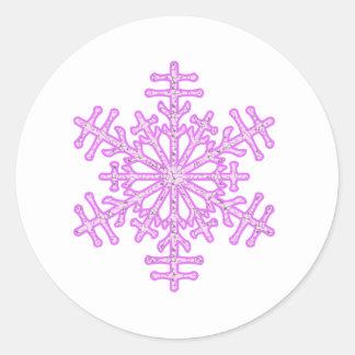 Pretty Pink Winter Christmas Snowflake Classic Round Sticker