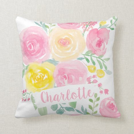 Pretty pink yellow floral watercolor monogram throw pillow