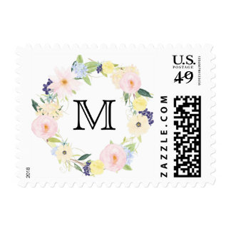 Pretty Pink Yellow Watercolor Floral Monogram Postage Stamp