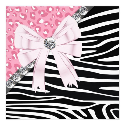 Personalized teen girls birthday party invitations pretty pink zebra and leopard sweet 16 party custom invitations filmwisefo