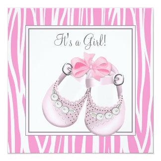 Pretty Pink Zebra Baby Girl Shower 5.25x5.25 Square Paper Invitation Card