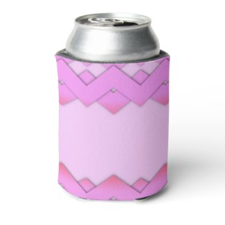 Pretty Pink Zigzag Design Can Cooler
