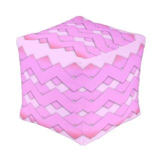 Pretty Pink Zigzag Design Cube Pouf