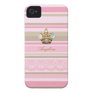 Pretty pinks stripes barcodes bling crown iphone 4 iPhone 4 cover