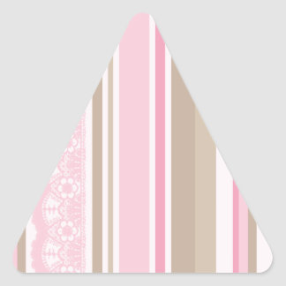 Pretty pinks taupes lace stripes barcodes triangle sticker