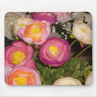 Pretty plastic flowers of unknown type & breed mouse pad