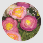 Pretty plastic flowers of unknown type & breed classic round sticker