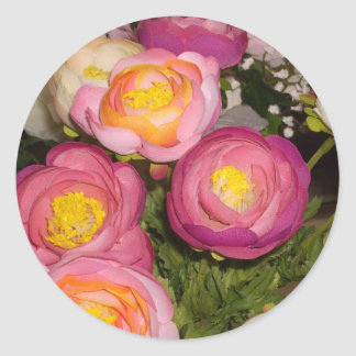 Pretty plastic flowers of unknown type & breed round sticker