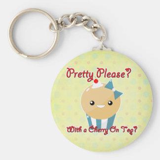 Pretty Please Cherry On Top Muffin Girl Basic Round Button Keychain