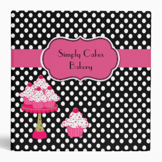 Pretty Polka Dot and Cupcakes Bakery Binder