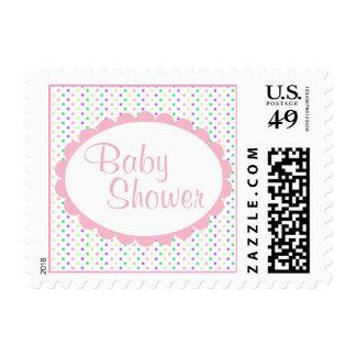 Pretty Polka Dot Baby Girl Shower Stamp