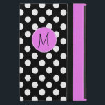 """Pretty Polka Dot Monogram Mini iPad Case<br><div class=""""desc"""">Stylish Mini iPad folio style case with built in stand done in a black and white polka dot. A bright pink band, running down the right front edge and a bright pink disc, on the middle front, has a black one letter monogram ready to personalize. Makes a great personalized gift...</div>"""