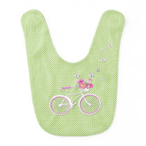 Pretty Polka Dots and Bicycle Baby Bib