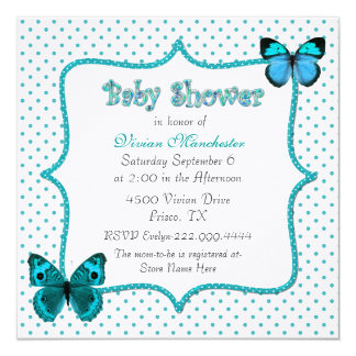 Pretty Polka Dots and Butterflies Baby Shower Card