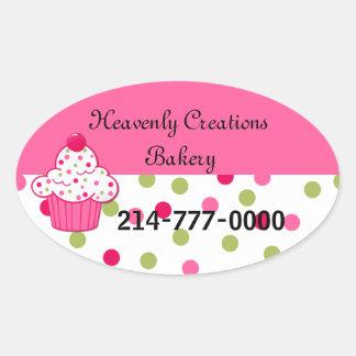Pretty Polka Dots and Cupcake Bakery Box Stickers
