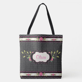 Pretty Polka Dots and Pink Roses Tote Bag