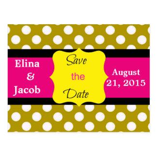 Pretty Polka Dots Save the Date Postcard