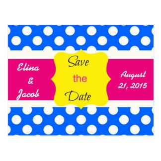Pretty Polka Dots Save the Date Postcard (Blue)