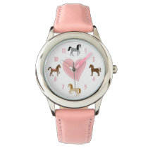 Pretty Ponies and Pink Heart Horse Watch