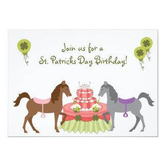 Pretty Ponies St Patrick's Day Birthday Invitation