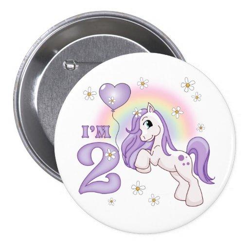 Pretty Pony 2nd Birthday 3 Inch Round Button