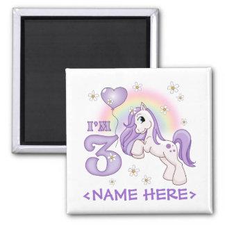 Pretty Pony 3rd Birthday 2 Inch Square Magnet